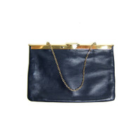 Navy blue leather clutch. Gold chain leather handbag. Simple leather purse. 60s Sexy clutch. Boho Glam.