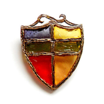 Vintage Plique a Jour Shield Brooch - Acrylic Resin - Stained Glass Style - Red Blue Yellow Green - Medieval Style - Broach Pin