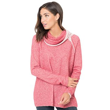 Chicloth Pink Raw Edge Cowl Neck Pullover Sweatshirt