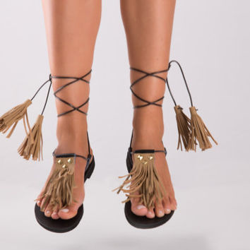 Fringed Leather Sandals with studs handcrafted of the highest quality materials., Boho Chic Sandals, Ariadne01 NEW