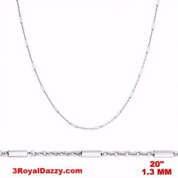 14k White Gold / 925 Sterling Silver Bar & Cable Italy Necklace Chain -1.3mm 20""