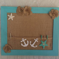 "Nautical Bulletin Board, 16"" x 19"" Anchors Nautical wooden Wall Decor, Beach Decor, Nautical Gift & fun Decor, Gifts for her, Ocean gifts"