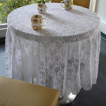 SALE 50% Off! CROCHET TABLECLOTH -  Handmade- Designer Tablecloth, Coffe Tablecloth, Wedding, Bridal, Birthday Gifts - White