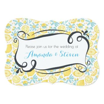 Yellow Lemons & Blue Flowers Wedding Invite
