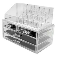 Evelots Acrylic Jewelry & Cosmetic Storage Makeup Organizer,Clear Medium,2 Piece