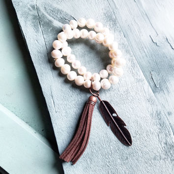 Double Strand GENUINE PEARL Bracelet With COPPER FEATHER 052D