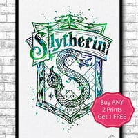 Slytherin Crest 2 Watercolor Print Harry Potter Fine Art Print Nursery Art Home Decor Wizard Nursery Kids Room Gift Slytherin Crest Poster