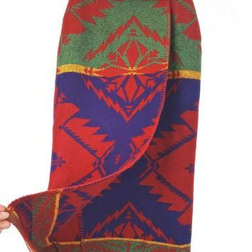 2 Ralph Lauren Skirt Polo Country Wool Indian Blanket Wrap Maxi Skirt Vintage Collecto