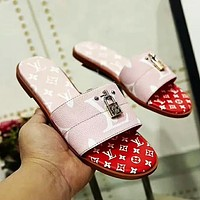LV 2019 new color matching lock buckle ladies sandals and slippers #2