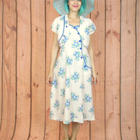 1950s Floral Cotton Sun Dress Cropped Bolero Jacket Set Button Up Summer Blue White Retro Day Dress (M)