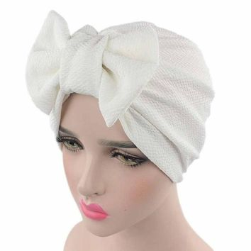 Solid Knitted hat Women Bow Hat Beanie Scarf Turban Head Wrap Cap For bandana bowknot Wrap hat Cap