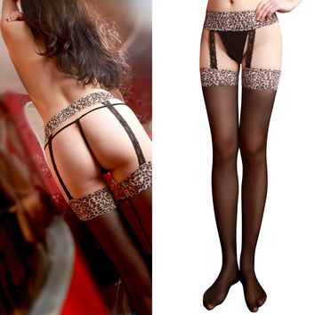 Stockings Leopard Spaghetti Strap Pants Sexy Knee-length Socks [11720669647]
