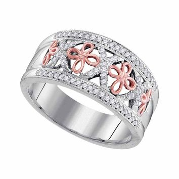 10kt White Two-tone Gold Womens Round Diamond Rose Cross Band Ring 1/5 Cttw