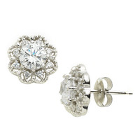 Lord & Taylor Platinum Plated  Pave Flower Stud Earrings