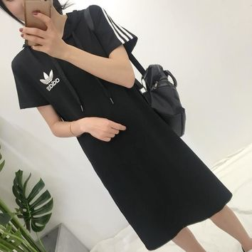 """Adidas"" Women Sport Casual Stripe Short Sleeve Medium Long Section Hooded Dress"