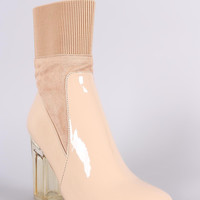 Elasticized Cuff Chunky Lucite Heeled Ankle Boots