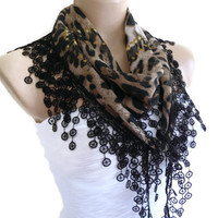 Necklace scarves, Traditional Turkish-style, Headband, scarf, Black and beige, fashion 2013, Mothers day