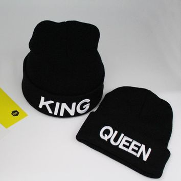 KNB010 Winter Cheap Men and Women Embroidery Knitted Hat Autumn Black King Queen Solid Curled Beanies Skullies