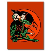 Vintage Halloween Owl Tickling the Moon