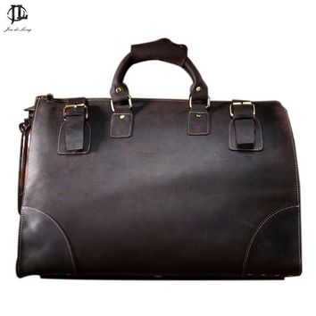Vintage Crazy Horse Genuine Leather Travel bag men duffle bag luggage travel bag Leather Large Weekend Bag Overnight Tote Big