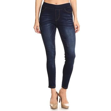 High-waisted dark denim wash jeggings
