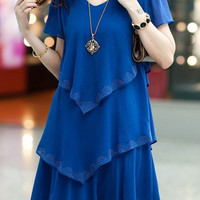 Blue Multi-Layered V-Neck Short Sleeve Lace Mini Dress