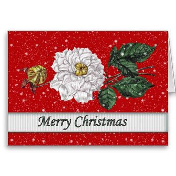 White Flower in Snow Merry Christmas from Zazzle.com