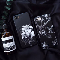 Retro Dark cold black Ink painting for iPhone 7 7plus Capas for iPhone 6 6S Plus Soft TPU Cover Case Fashion -0324