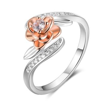 925 Sterling Silver Rose Flower Shape Rings For Women Fashion CZ Stone Rose Gold Color Rings Women Jewelry(RI103414)