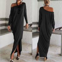 Plus Size Women Sexy Casual Long Sleeve Maxi Dress Loose Club Long Dress