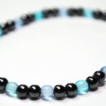 Hematite Magnetic Bracelet with transparent beads by epicstitching