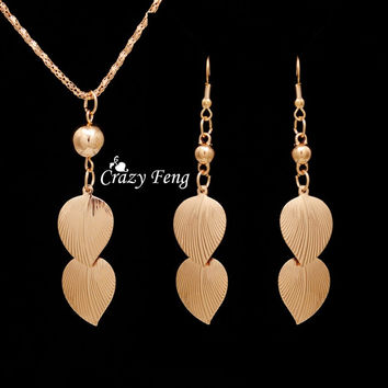 Vintage Set New 2015 Free Shipping 18K Gold Plated Leaf African Costume Jewelry Sets Dangle Pendant Necklace+ Drop Earrings Set