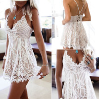 Summer Women's Fashion White Lace V-neck One Piece Dress [10893319887]