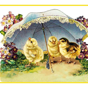 Vintage Easter Baby Chicks Flowers Umbrella Counted Cross Stitch or Counted Needlepoint Pattern