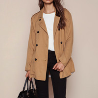 CAMEL DOUBLE BREASTED SHORT TRENCH COAT