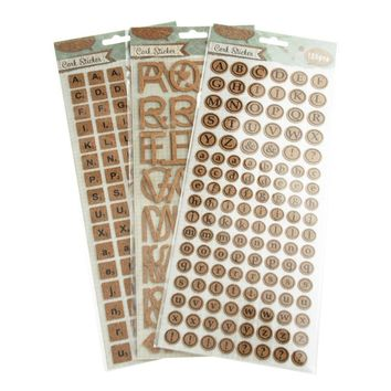 Alphabet Letters Cork Stickers, Natural, 3-Packs