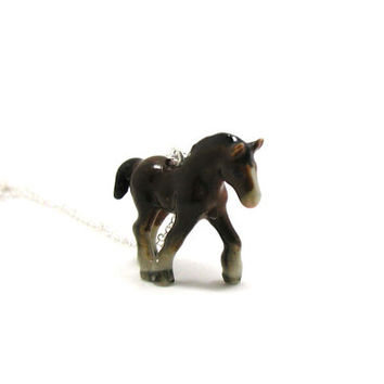 Horse Necklace, Charm Necklace, Charm Jewelry, Horse Pendant, Horse Jewelry, Horse Charm, Jewelry Gift, Ceramic Horse, Equestrian Necklace