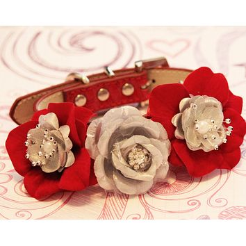 Red and Silver Floral Dog Collar Wedding, Gift