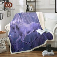 BeddingOutlet Purple Unicorn Sherpa Blanket on the Beds 3D Floral Scenic Plush Throw Blanket Sofa Cover 130x150 Thin Quilt