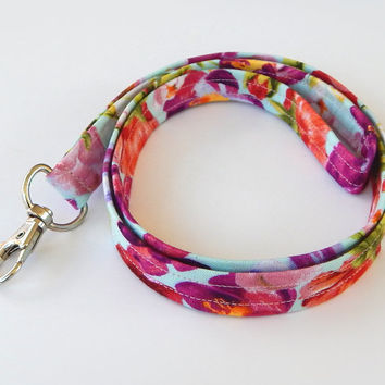 Floral Lanyard / Flower Keychain / Colorful Floral Print / Key Lanyard / ID Badge Holder / Flowers / Pretty Lanyard / Teacher Lanyard