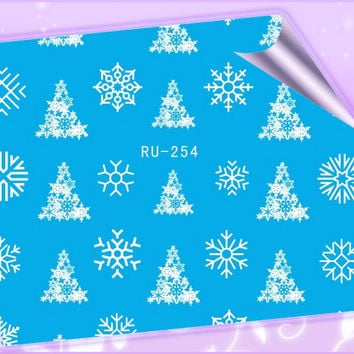 Nail Sticker WATER DECAL FLOWER CHRISTMAS XMAS WHITE SNOW FLAKE RU254-259
