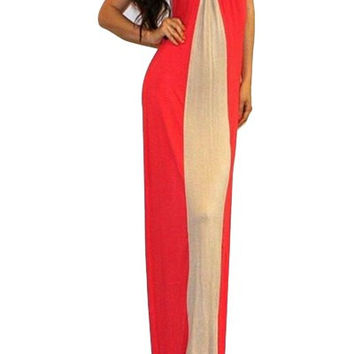 Red and White Striped Spaghetti Strap Maxi Dress