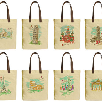 Colorful Tourist Attrations Beige Print Canvas Tote Bags Leather Handles WAS_30