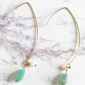 Open Hoop Pearl Earrings Mint