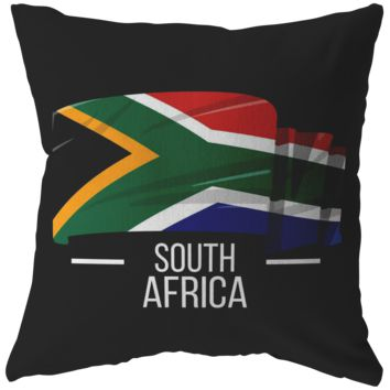 South Africa Pillow- South African Pride Patriotic Vintage Pillow