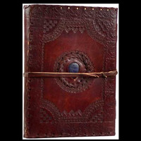 Stone Eye Genuine Leather Blank Journal with cord