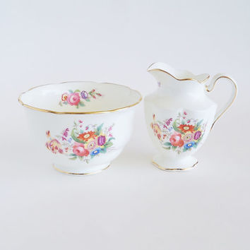 Charming Blossoms China Cream and Sugar Set George Jones and Sons CRESCENT CHINA England
