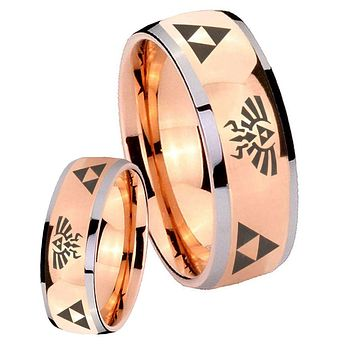 His Hers Rose Gold Dome Legend of Zelda Two Tone Tungsten Wedding Rings Set