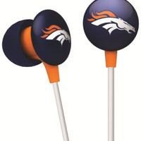 iHip NFF10200DEB NFL Denver Broncos Mini Ear Buds, Blue/Orange