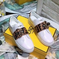 FENDI : High Quality Popular Casual Leather Simple Buckle Sports Shoes Women Sneakers